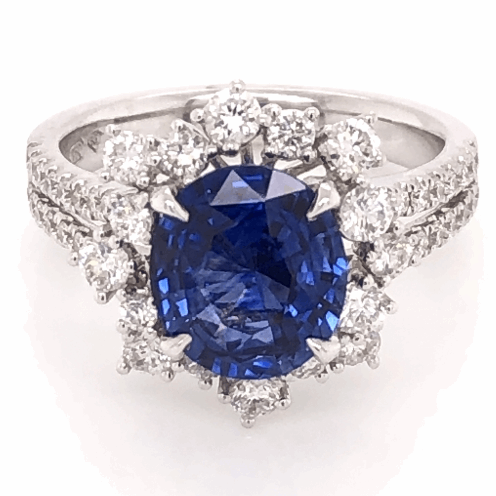 18K White Gold 2.77ct Oval Sapphire & 1.00tcw Diamond Ring 5.3g, s6.5