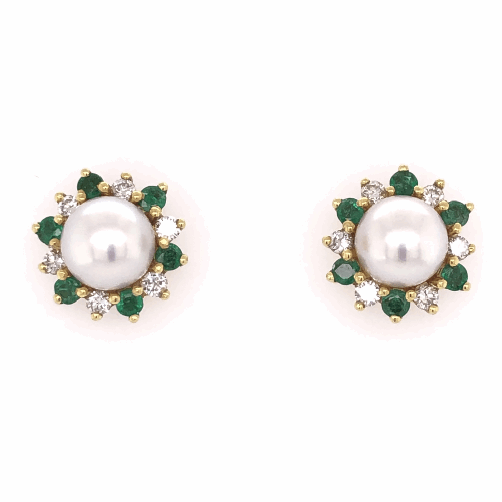 18K Yellow Gold HONORA Pearl Earrings with .54tcw Diamonds & .50tcw Emeralds 7.9g