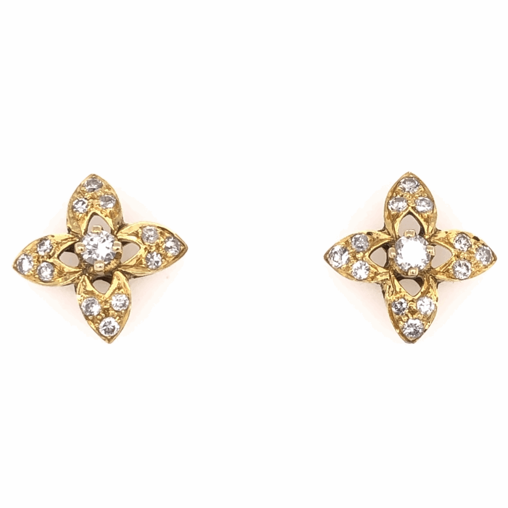 "18K Yellow Gold Diamond Flower Stud Earrings .50tcw, 3.9g, 1/2"" Diameter"