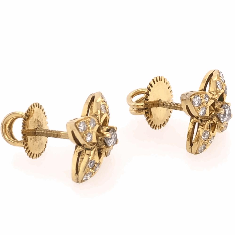 """Image 2 for 18K Yellow Gold Diamond Flower Stud Earrings .50tcw, 3.9g, 1/2"""" Diameter"""