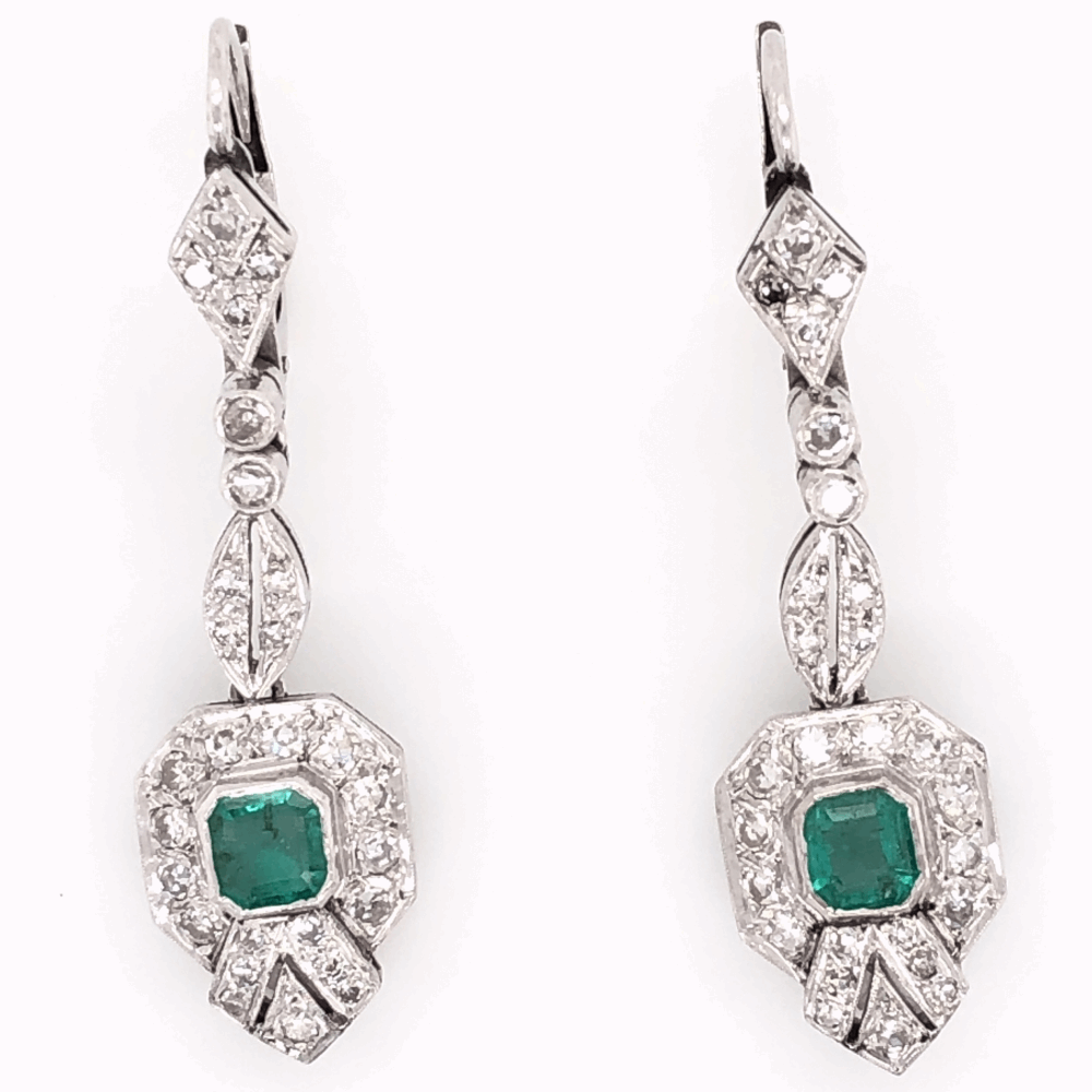 "Platinum Art Deco .50tcw Emerald & ,55tcw Diamond Drop Earrings 5.9g, 1.5"" Tall"
