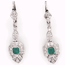 "Closeup photo of Platinum Art Deco .50tcw Emerald & ,55tcw Diamond Drop Earrings 5.9g, 1.5"" Tall"