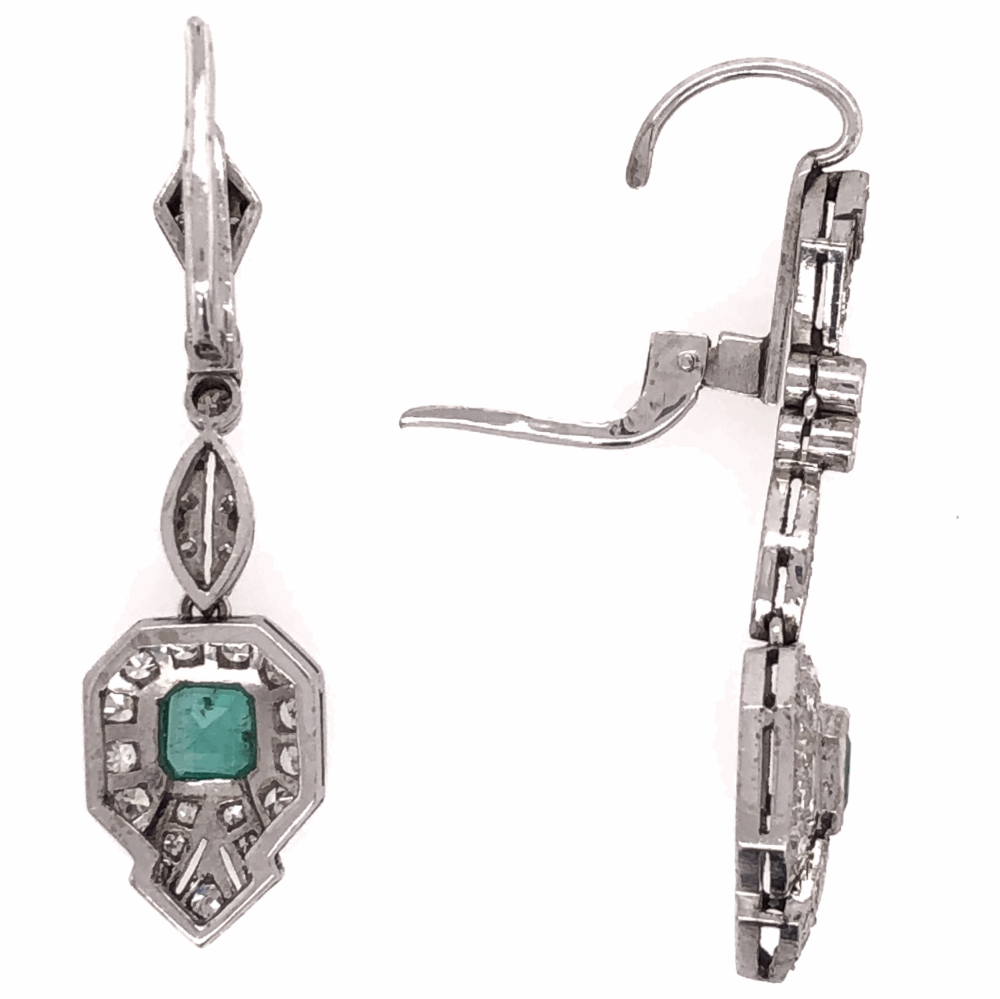 "Image 2 for Platinum Art Deco .50tcw Emerald & ,55tcw Diamond Drop Earrings 5.9g, 1.5"" Tall"
