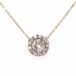 "Closeup photo of 14K Yellow Gold 1.08ct Round Diamond in Halo Diamond .12tcw Necklace 18"""