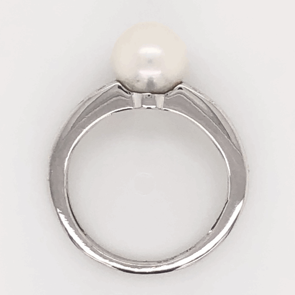 Image 2 for 14K White Gold 7.4mm Akoya Pearl & .26tcw Diamond Ring 3.0g, s5
