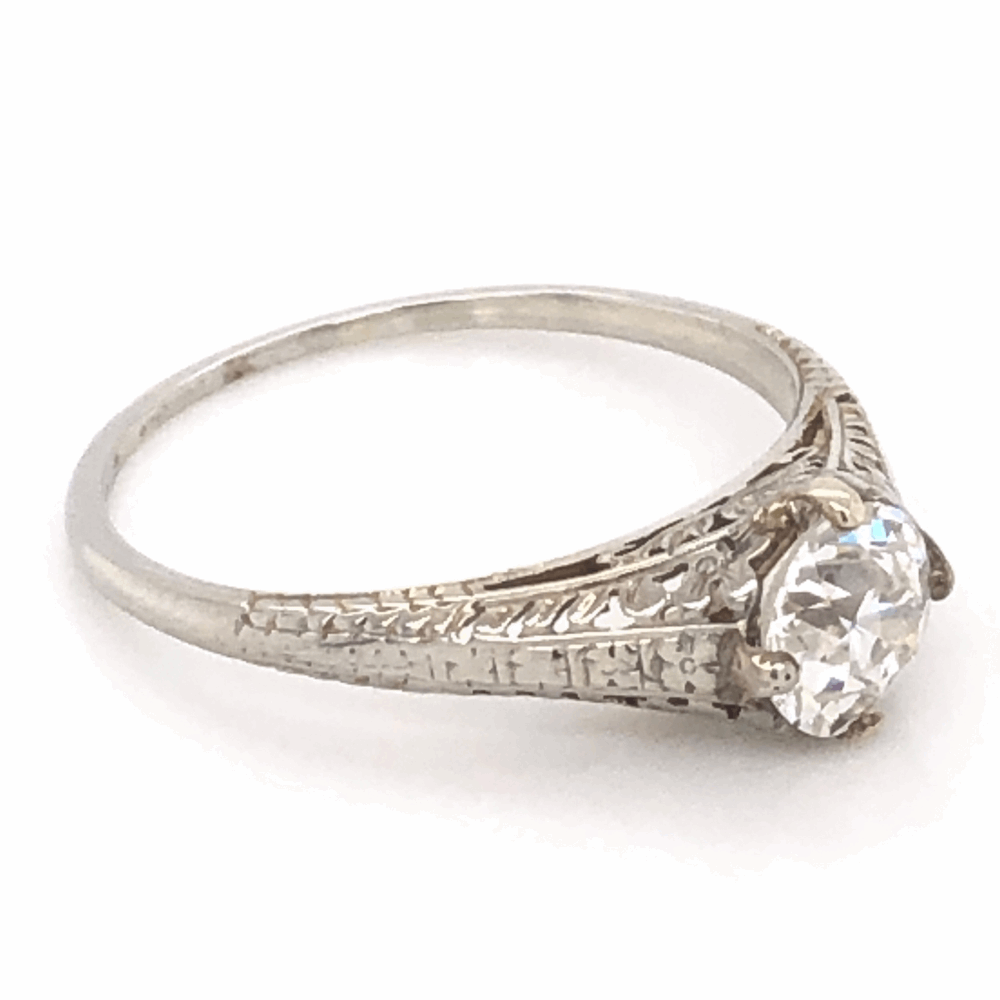 Image 2 for 18K White Gold Art Deco .90ct Old European Cut Diamond Ring with Filigree 2.2g, s8