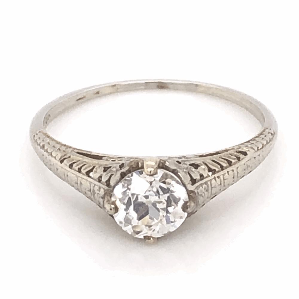 18K White Gold Art Deco .90ct Old European Cut Diamond Ring with Filigree 2.2g, s8