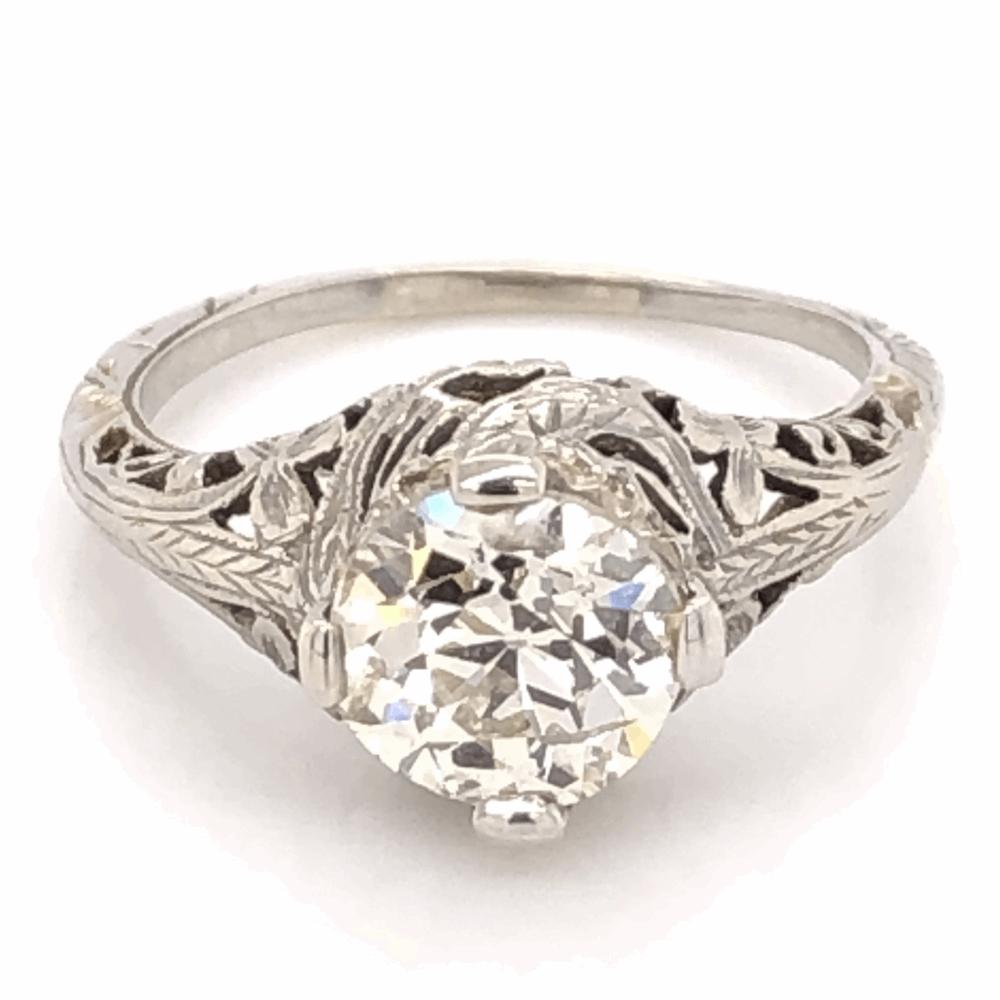 18K White Gold Art Deco 1.58ct OEC Diamond Filigree Ring 3.1g, s6