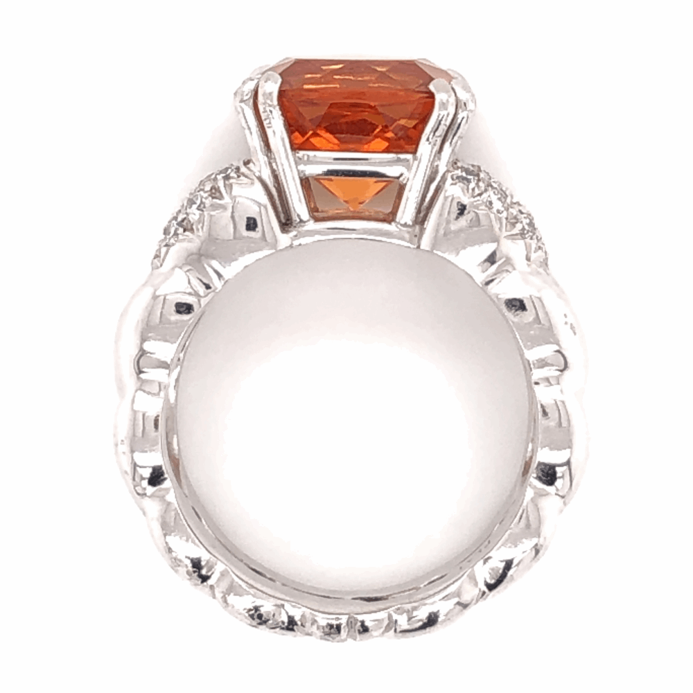 Image 2 for Platinum 7.50ct Cushion Spessartite Garnet & .30tcw diamond ring 18.1g, s7