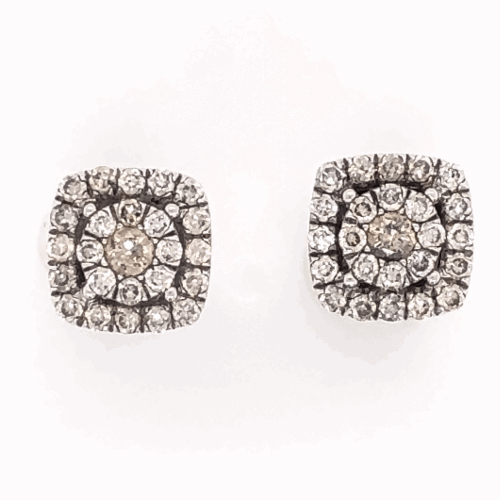 "14K White Gold GABRIEL & CO Cluster Diamond Stud Earrings .65tcw 3.1g, 5/16"" Square"