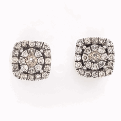 "Closeup photo of 14K White Gold GABRIEL & CO Cluster Diamond Stud Earrings .65tcw 3.1g, 5/16"" Square"