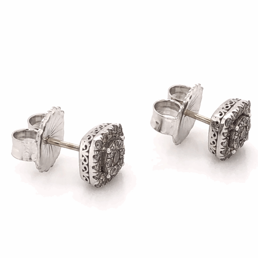 "Image 2 for 14K White Gold GABRIEL & CO Cluster Diamond Stud Earrings .65tcw 3.1g, 5/16"" Square"