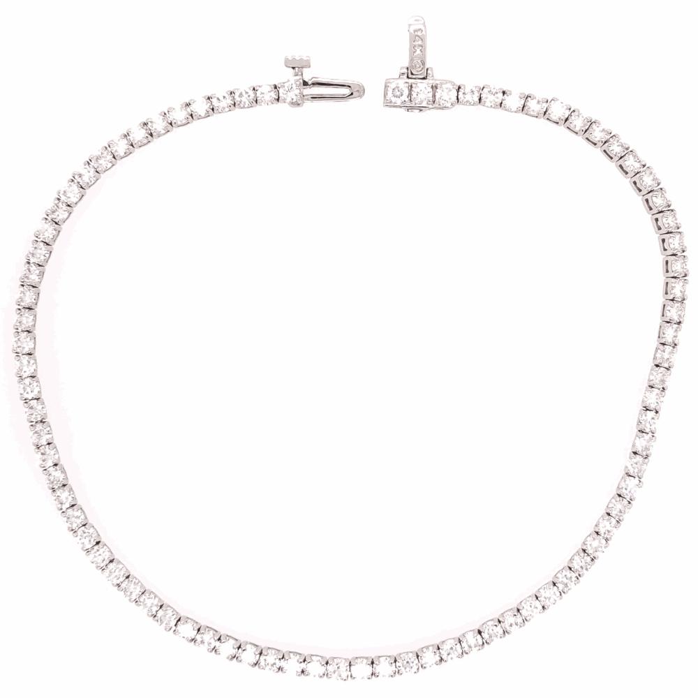 "14K White Gold Line Bracelet 3.00tcw F-VS Diamonds 8"" WELL MADE!"