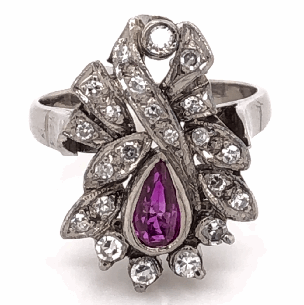 Palladium Topped 925 Sterling Silver Art Deco .30ct Pear Shape Ruby & .40tcw Diamond Ring 4.8g, s5.25