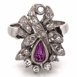 Closeup photo of Palladium Topped 925 Sterling Silver Art Deco .30ct Pear Shape Ruby & .40tcw Diamond Ring 4.8g, s5.25