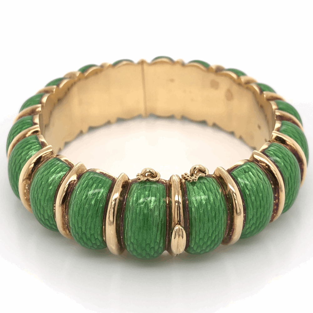 Image 2 for 18K Yellow Gold Green Enamel Cuff Bracelet stamped CARTIER 85.2g