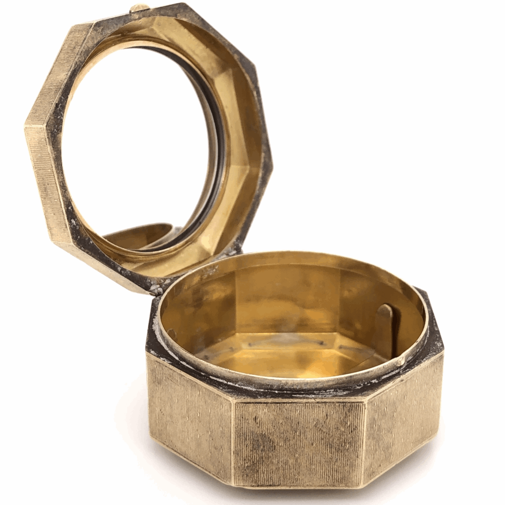 """Image 2 for 14K Yellow Gold TIFFANY & CO Personal Octagonal 1 5/8"""" Box with Ring Holder 34.8g"""
