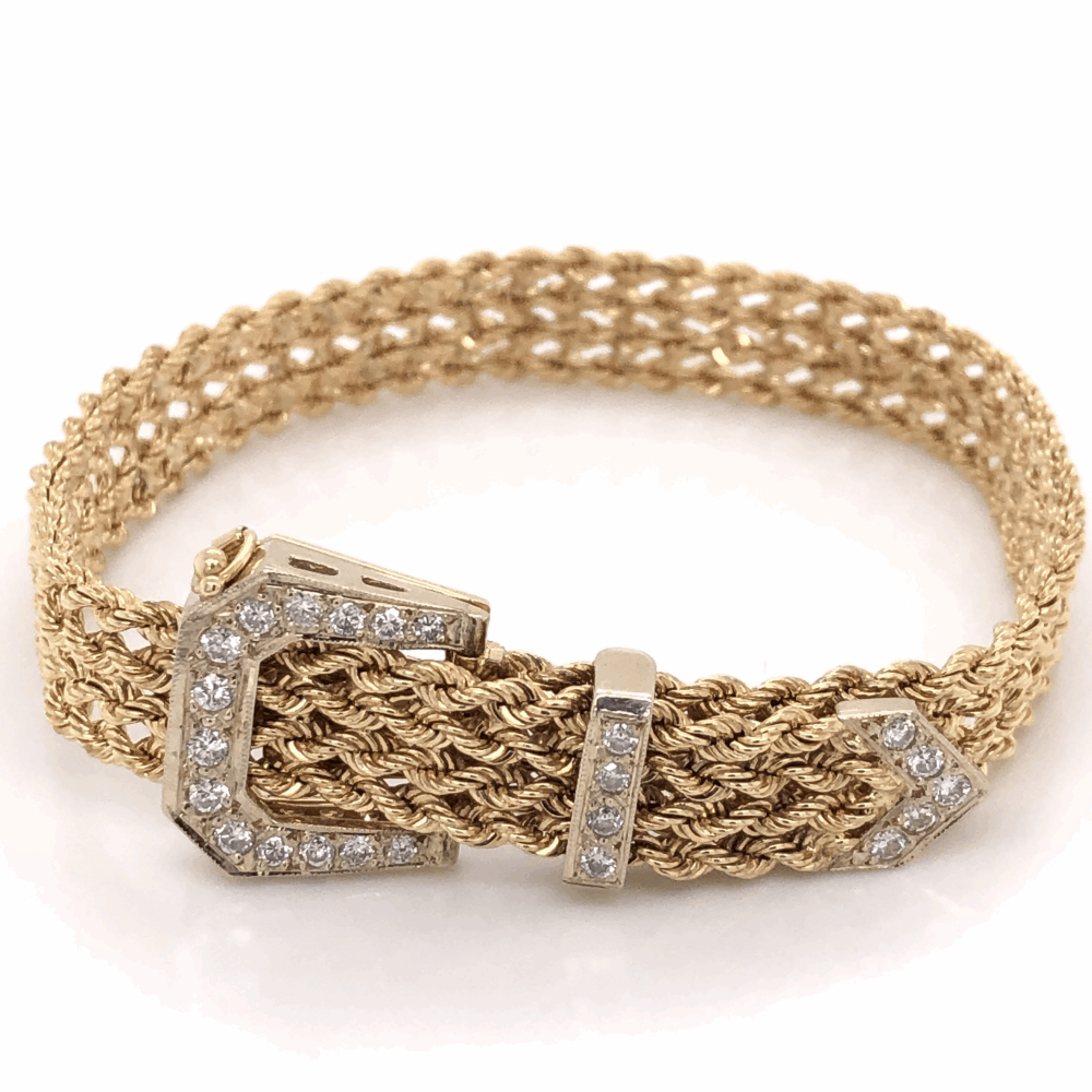 14K Yellow Gold Adjustable Diamond Buckle Bracelet .56tcw 22.6g, 6-7.5""