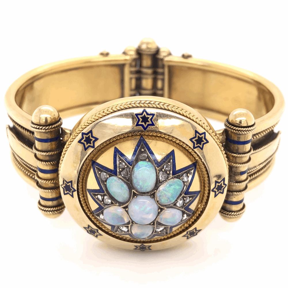 18K Yellow Gold Victorian Diamond Enamel Large Bangle Bracelets 2.20tcw Opal, .70tcw Diamonds 64.6g
