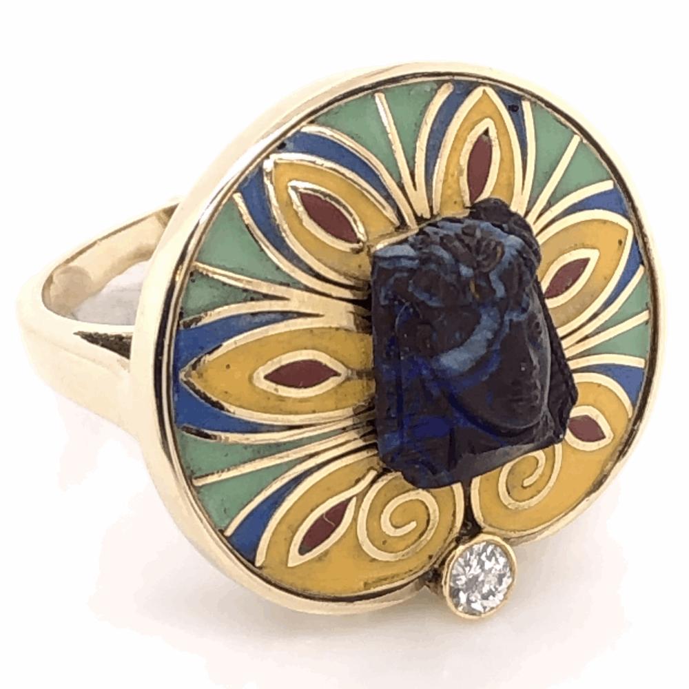 14K Yellow Gold KING TUT .12ct Diamond, Enamel & Carved Opal Ring 11.7g, c1970, s7
