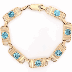 "Closeup photo of 14K Yellow Gold Retro 9.00tcw Blue Zircon Bracelet 8.8g, 6.5"" Long"