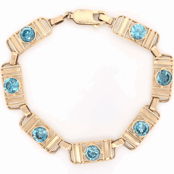 "Closeup photo of 14K Yellow Gold Retro 9.00tcw Blue Zircon Bracelet 8.8g, 6.5"" Long"