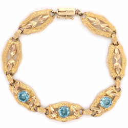 "Closeup photo of 14K Yellow Gold Retro 4.50tcw Blue Zircon Bracelet 8.1g, 7"" Long"