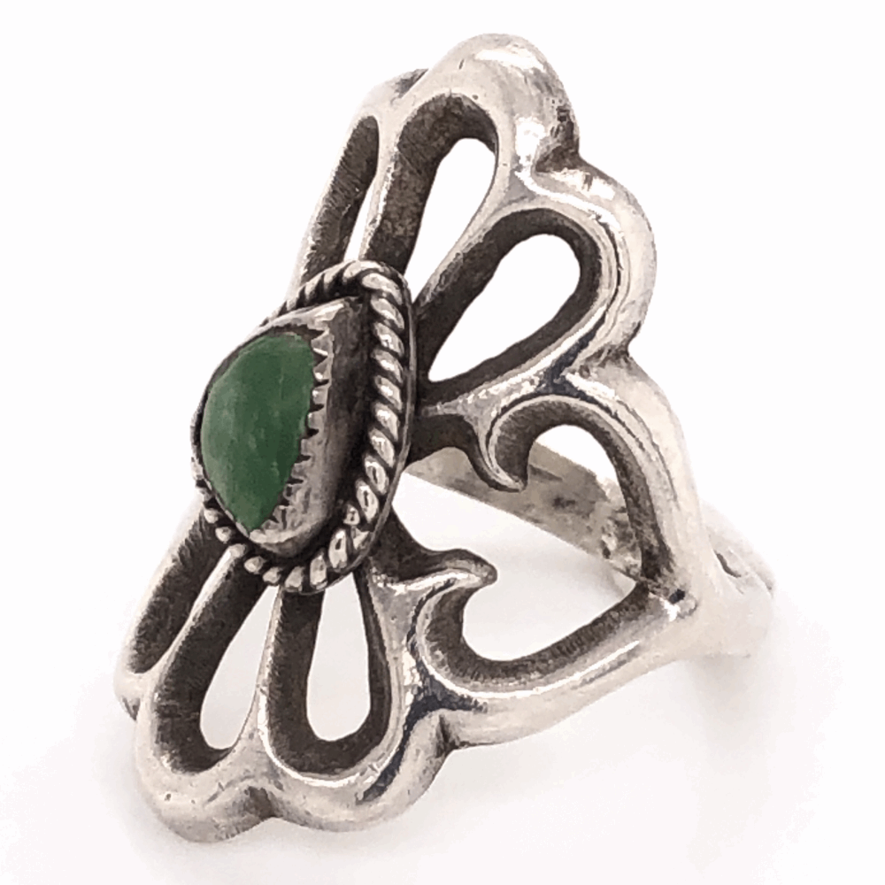 "Image 2 for 925 Sterling Vintage Native Sand Cast Green Turquoise Ring 6.3g, s7 1 1/8"" Long"