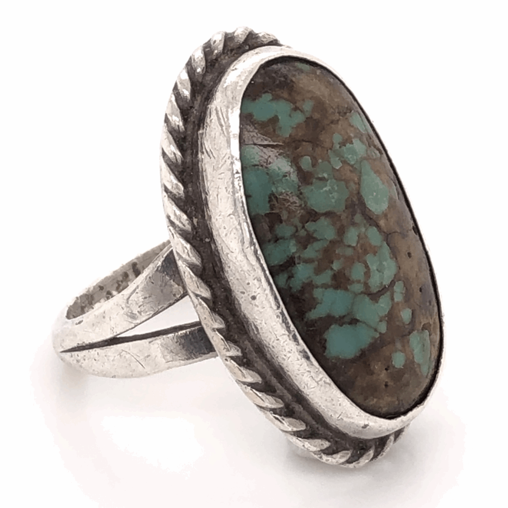 """925 Sterling Vintage Native Oval Turquoise Ring 7.0g, s7.75 1"""" Long"""