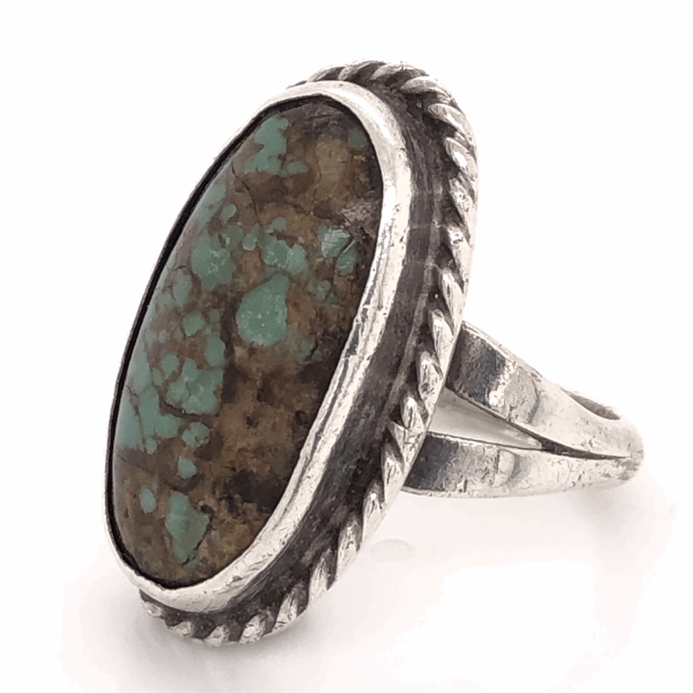 """Image 2 for 925 Sterling Vintage Native Oval Turquoise Ring 7.0g, s7.75 1"""" Long"""