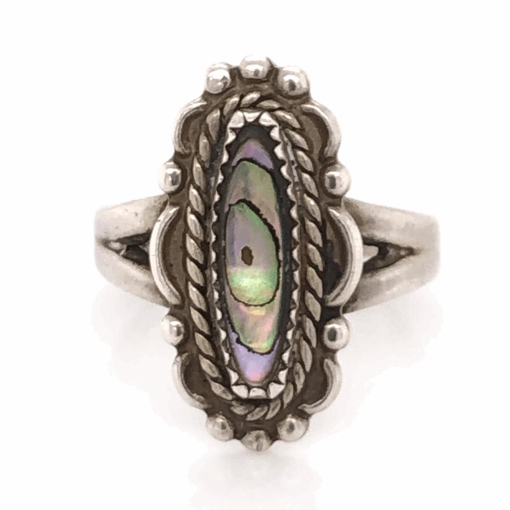 925 Sterling Vintage Native Navette Shaped Abalone Ring 3.9g, s6.5