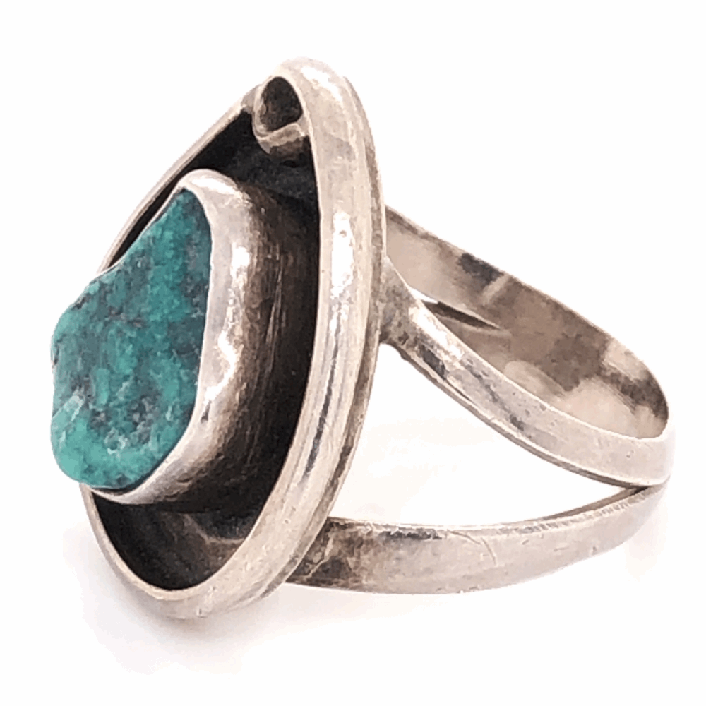 "Image 2 for 925 Sterling Vintage Native Turquoise Ring 5.2g, s5.5 .75"" Long"