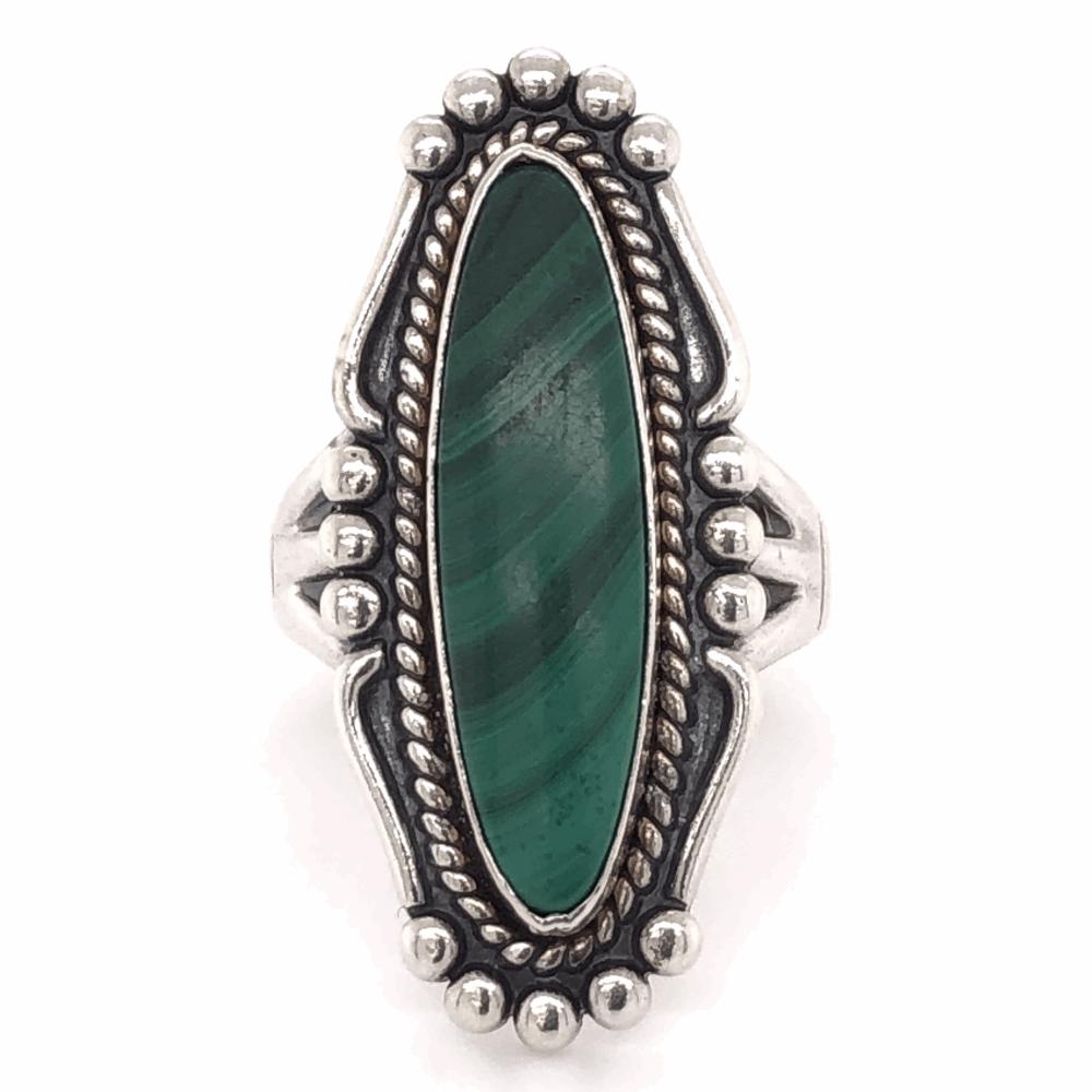 """925 Sterling Vintage Native Navette Malachite Ring 8.3g, s6.5, 1.25"""" Long"""