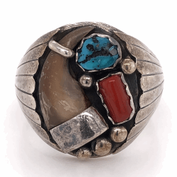 "Closeup photo of 925 Sterling Native Mens Claw, Turquoise & Coral Ring 21.7g, size 17, 1"" Wide"