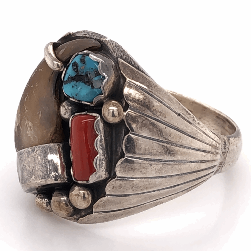 """Image 2 for 925 Sterling Native Mens Claw, Turquoise & Coral Ring 21.7g, size 17, 1"""" Wide"""