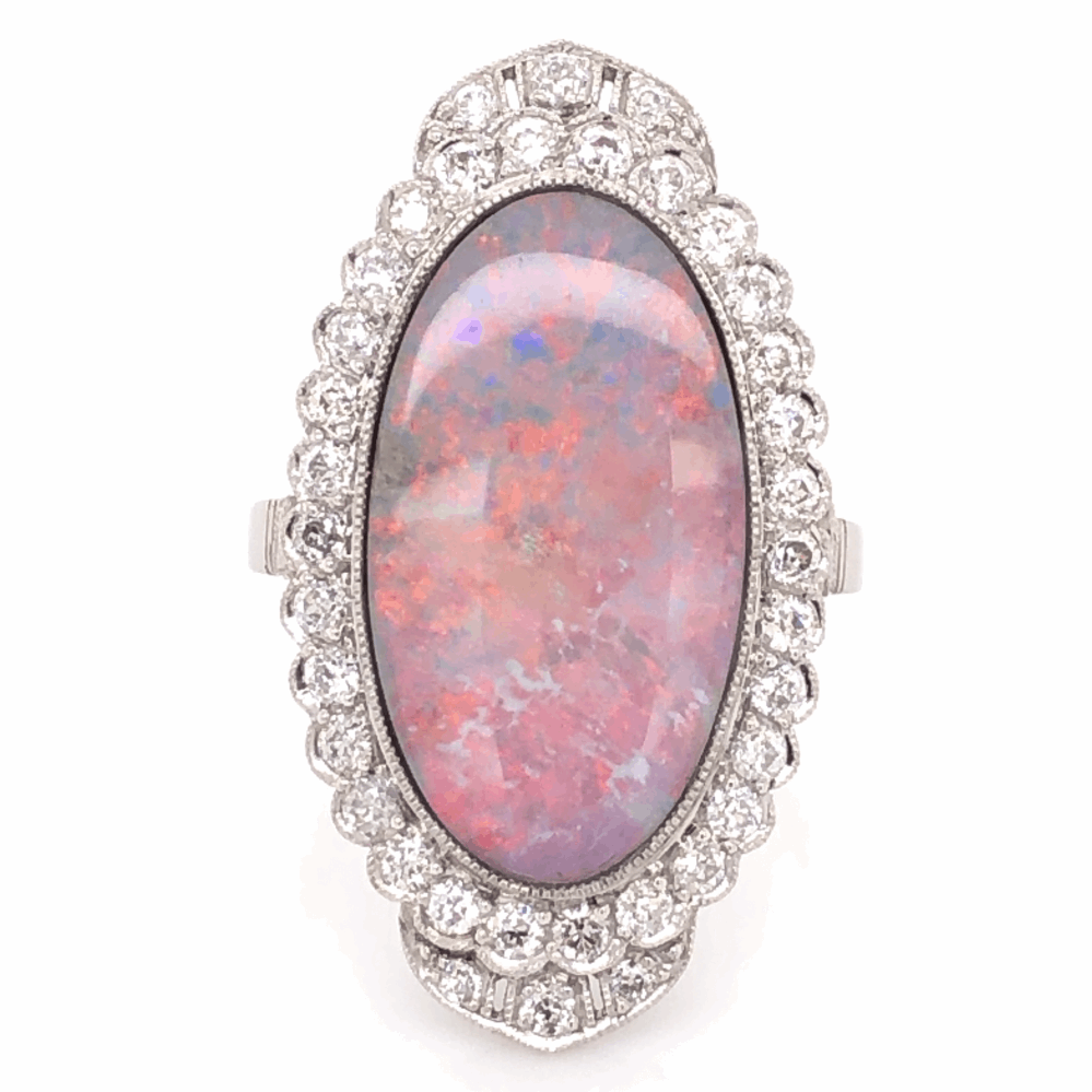 Platinum Art Deco 5.00ct Oval Opal & 1.07tcw Diamond Ring 8.3g, s7