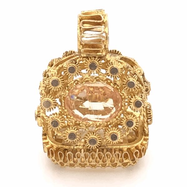 "Closeup photo of 22K Yellow Gold Stamp Pendant Citrine & Peach Stone 4.1g, 7/8"" Tall"