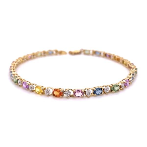 """Closeup photo of 14K / 10K YG 7tcw Rainbow Sapphire & .01tcw Diamond Bracelet 5.5g, 7.5"""""""