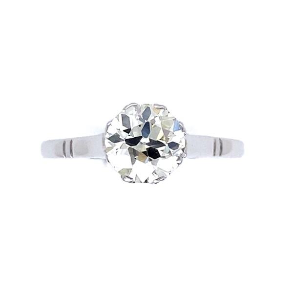 Closeup photo of 14K WG Art Deco 1.13ct Old European Cut Diamond Solitaire Ring 2.0g, 7.75