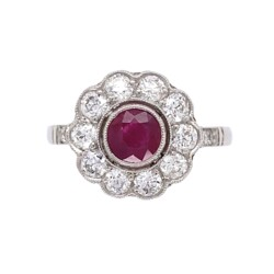 Closeup image for View Platinum 1.64Ct Pear Shape Ruby And .80Tcw Diamond Ring C1950 S6.75 By Estate