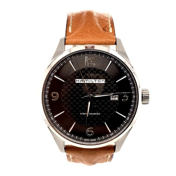 Closeup photo of Hamilton 43mm Stainless Steel Viewmatic H327550 ABB152665 Leather Ostrich Print Strap Deployant