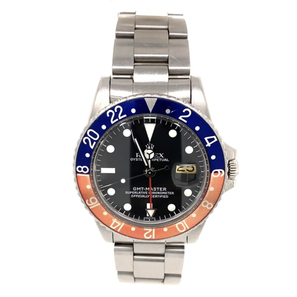 Closeup photo of 1675 Pepsi Rolex GMT Master Stainless Steel Oyster Bracelet c1964
