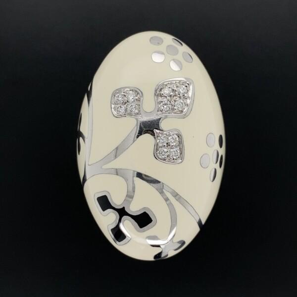 Closeup photo of 18K W/RG White Enamel & Flower Design RIng, .18tcw Diamonds 26.3g, s7