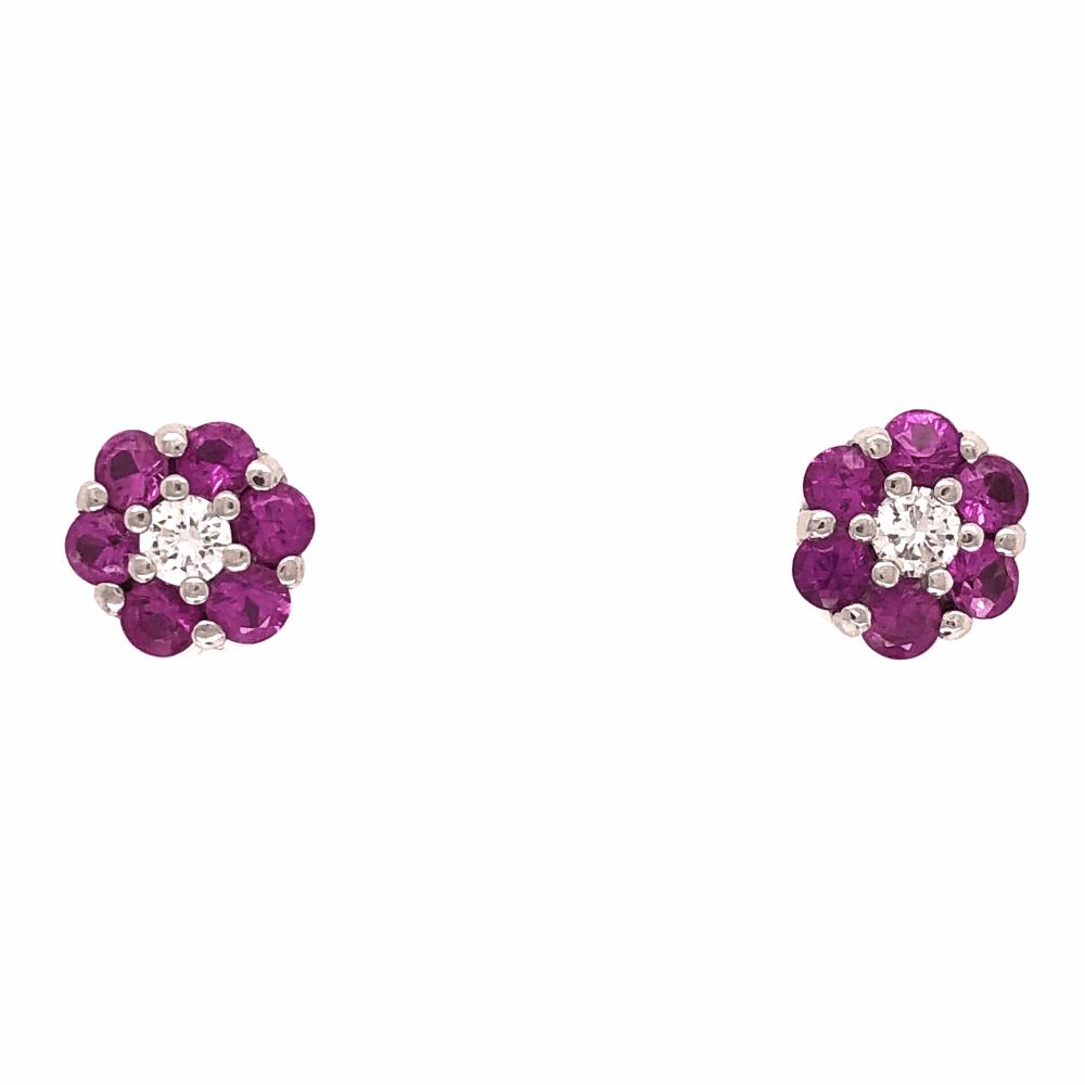 18K White Gold Cluster Stud Earrings Diamonds Pink Sapphires