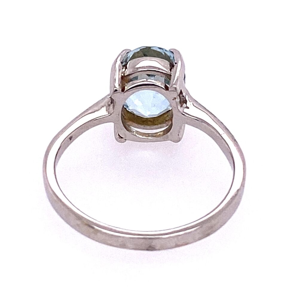 Image 2 for Classic Oval Aquamarine Solitaire Ring, size 5