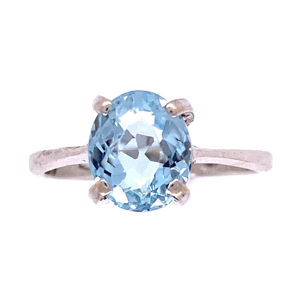 Classic Oval Aquamarine Solitaire Ring, size 5