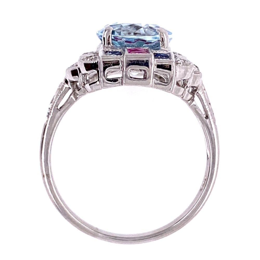 Image 7 for 18K White Gold 2.53ct Oval Aquamarine Ring with .20tcw diamonds and .65tcw Sapphire/Ruby
