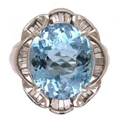 Closeup photo of Platinum Oval 7.20ct Aquamarine Ring with .47tcw diamond c1950