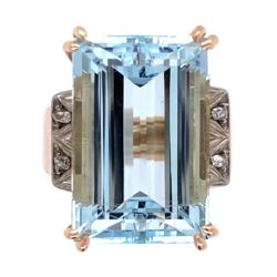 Closeup photo of 18K Rose Gold and Platinum Retro 13ct Emerald Cut Aquamarine Ring .05tw diamonds