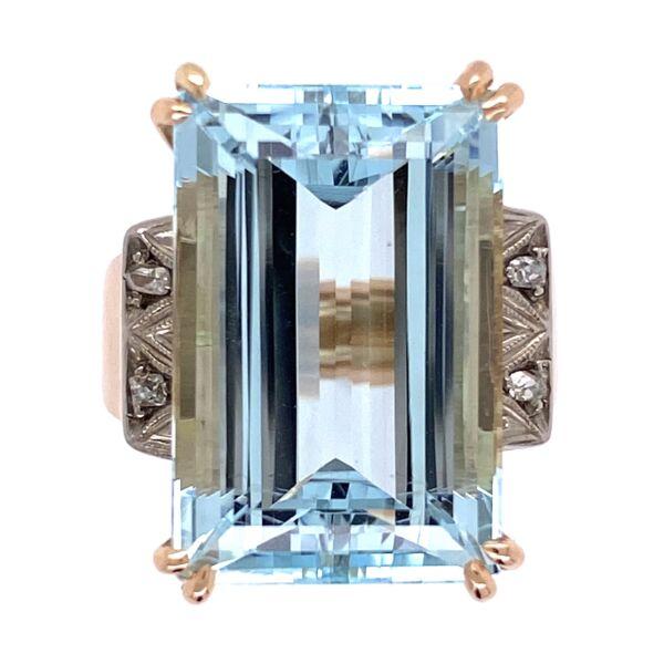 Closeup photo of 18K Rose Gold and Platinum Retro 13ct Emerald Cut Aquamarine Ring .05tw diamonds